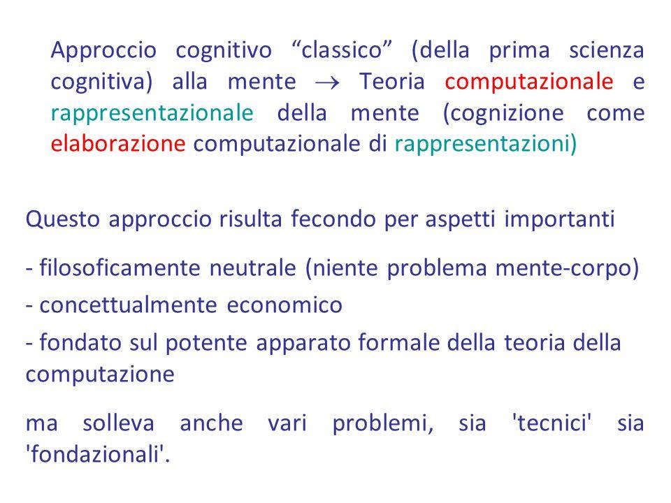 Approccio cognitivo classico (della prima scienza cognitiva) alla mente Teoria computazionale e rappresentazionale della mente (cognizione come elabor