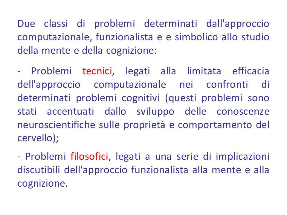 Due classi di problemi determinati dall'approccio computazionale, funzionalista e e simbolico allo studio della mente e della cognizione: - Problemi t