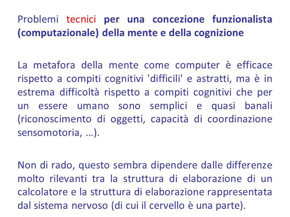 Problemi tecnici per una concezione funzionalista (computazionale) della mente e della cognizione La metafora della mente come computer è efficace ris