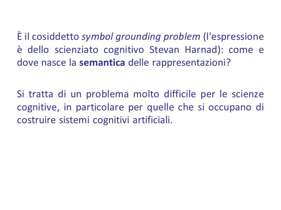 È il cosiddetto symbol grounding problem (l'espressione è dello scienziato cognitivo Stevan Harnad): come e dove nasce la semantica delle rappresentaz