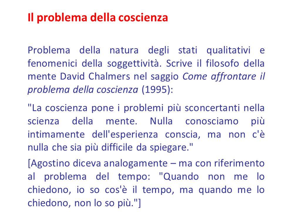 Il problema della coscienza Problema della natura degli stati qualitativi e fenomenici della soggettività. Scrive il filosofo della mente David Chalme