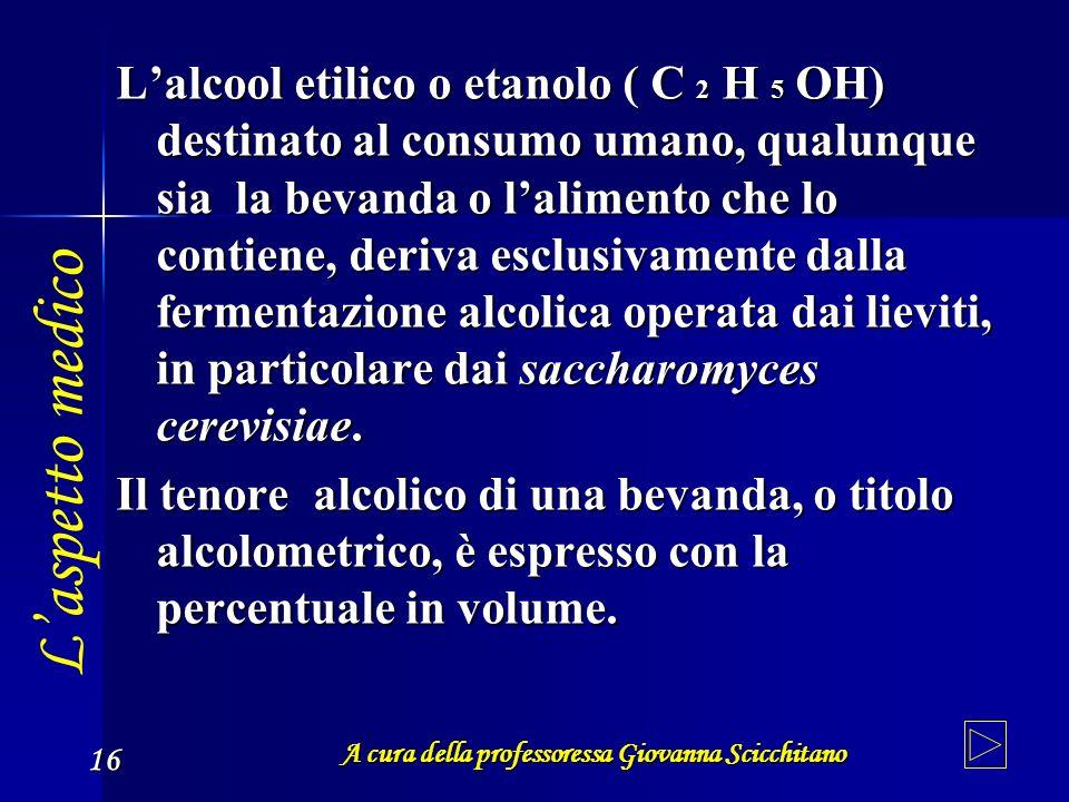 A cura della professoressa Giovanna Scicchitano 16 Lalcool etilico o etanolo ( C 2H 5OH) destinato al consumo umano, qualunque sia la bevanda o lalime