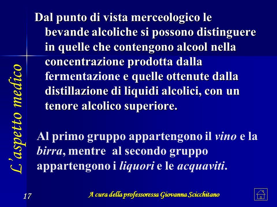 A cura della professoressa Giovanna Scicchitano 17 Al primo gruppo appartengono il vino e la birra, mentre al secondo gruppo appartengono i liquori e