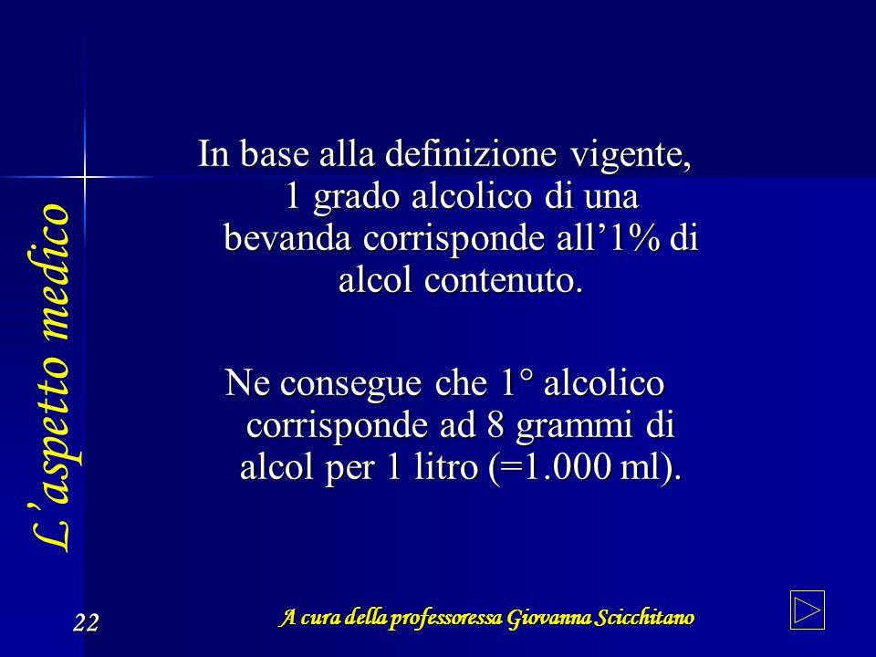 A cura della professoressa Giovanna Scicchitano 22 In base alla definizione vigente, 1 grado alcolico di una bevanda corrisponde all1% di alcol conten