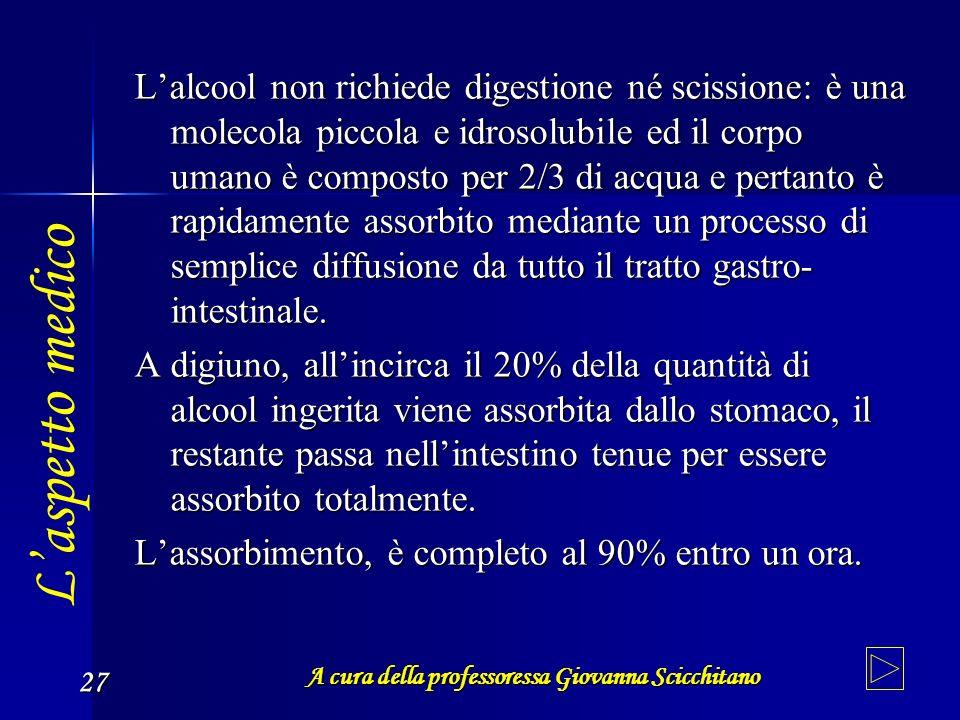 A cura della professoressa Giovanna Scicchitano 27 Lalcool non richiede digestione né scissione: è una molecola piccola e idrosolubile ed il corpo uma