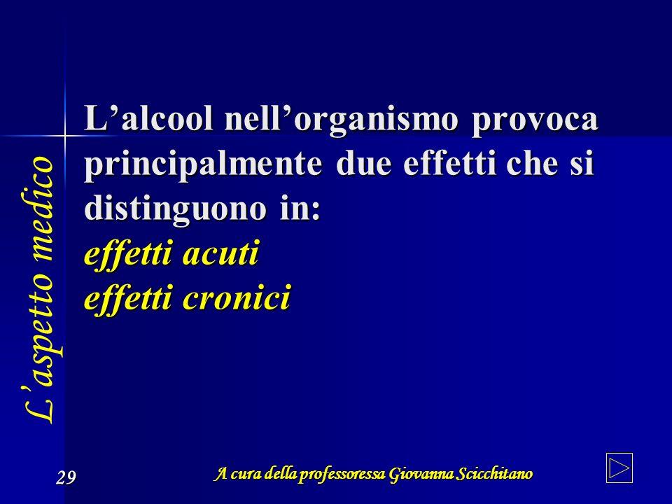 A cura della professoressa Giovanna Scicchitano 29 Lalcool nellorganismo provoca principalmente due effetti che si distinguono in: effetti acuti effet