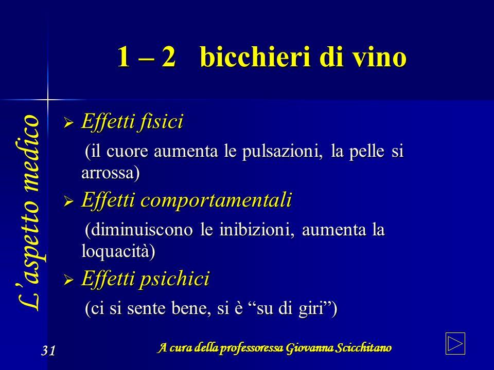 A cura della professoressa Giovanna Scicchitano 31 1 – 2 bicchieri di vino Effetti fisici Effetti fisici (il cuore aumenta le pulsazioni, la pelle si