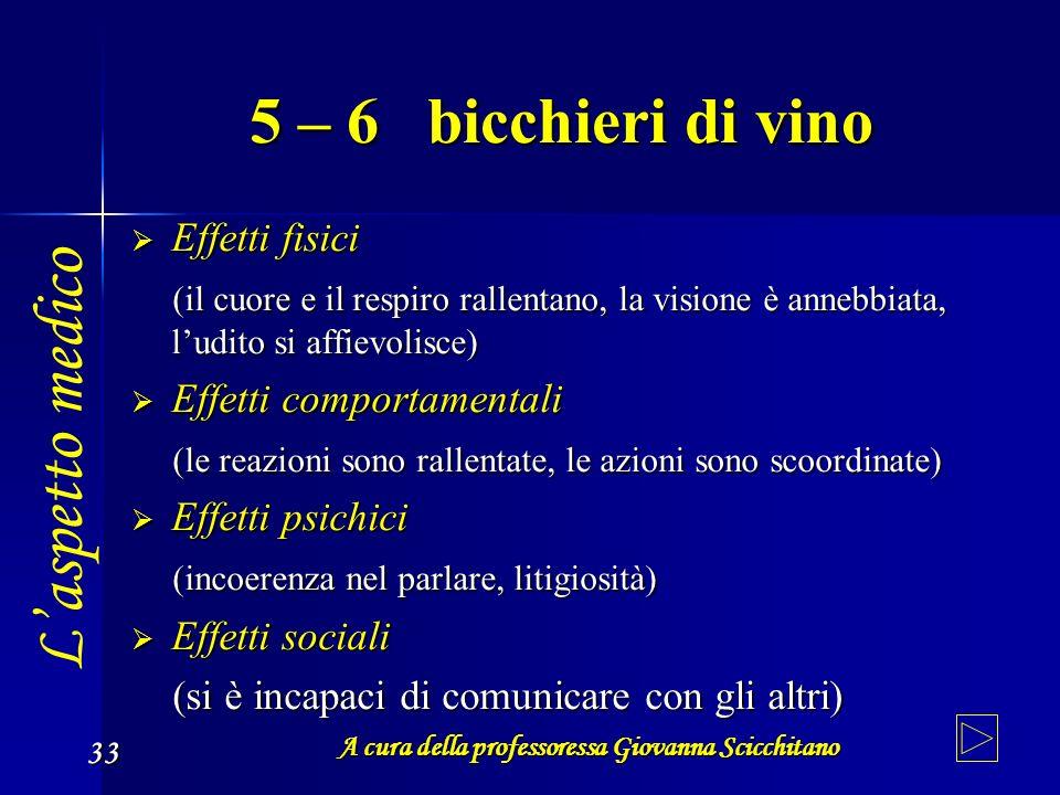 A cura della professoressa Giovanna Scicchitano 33 5 – 6 bicchieri di vino Effetti fisici Effetti fisici (il cuore e il respiro rallentano, la visione