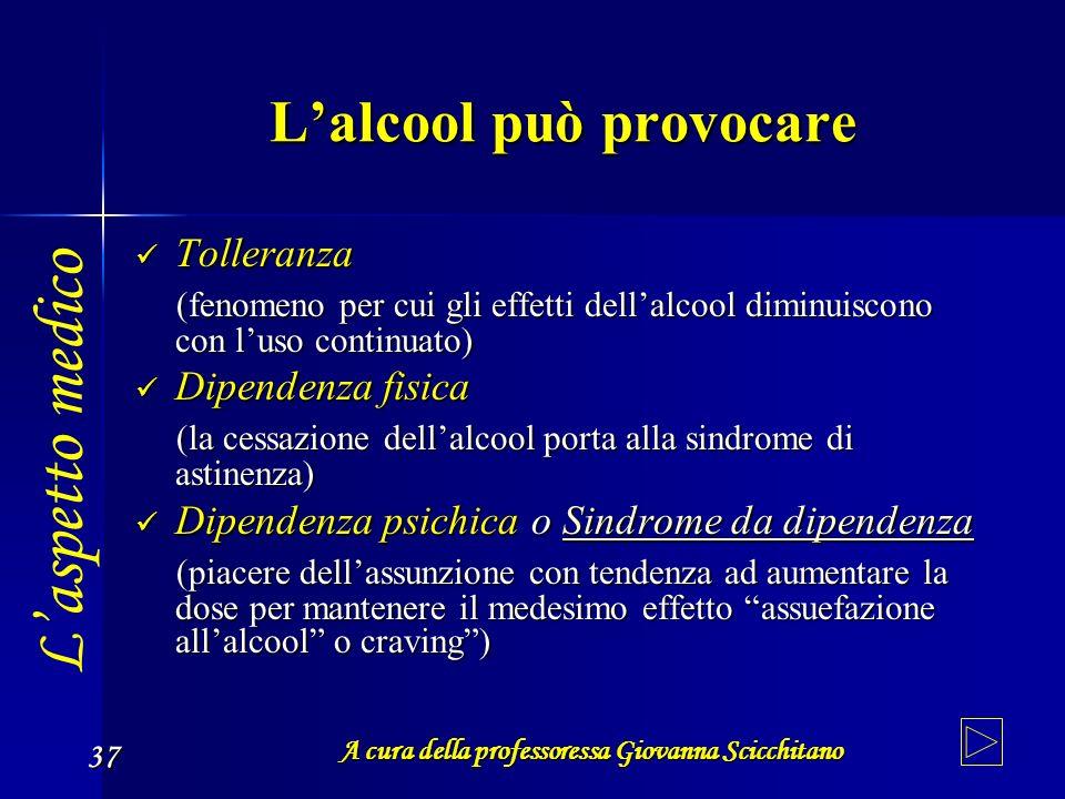 A cura della professoressa Giovanna Scicchitano 37 Lalcool può provocare Tolleranza Tolleranza (fenomeno per cui gli effetti dellalcool diminuiscono c