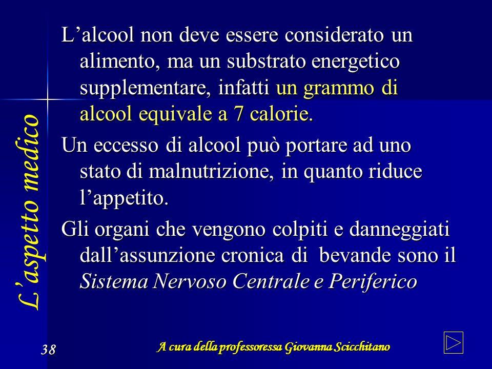 A cura della professoressa Giovanna Scicchitano 38 Lalcool non deve essere considerato un alimento, ma un substrato energetico supplementare, infatti