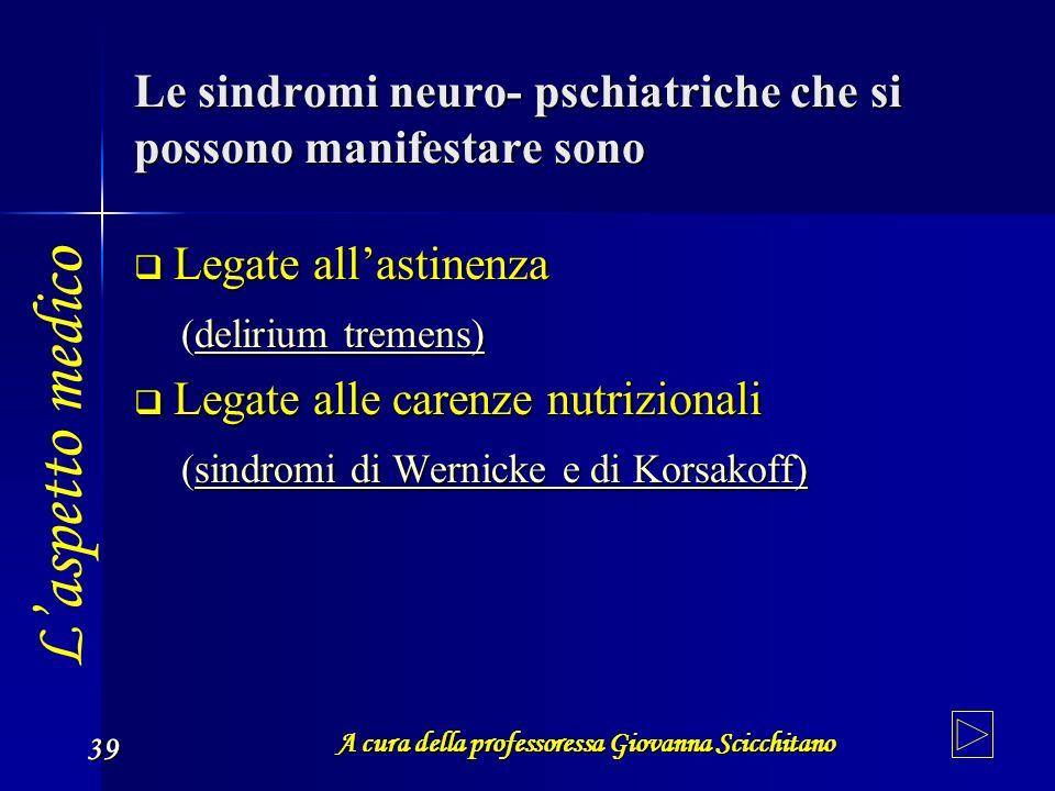 A cura della professoressa Giovanna Scicchitano 39 Le sindromi neuro- pschiatriche che si possono manifestare sono Legate allastinenza ( dddd eeee lll