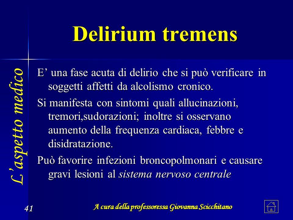 A cura della professoressa Giovanna Scicchitano 41 Delirium tremens E una fase acuta di delirio che si può verificare in soggetti affetti da alcolismo