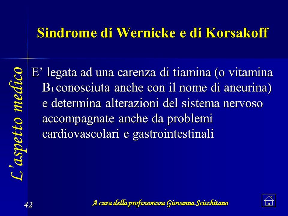 A cura della professoressa Giovanna Scicchitano 42 Sindrome di Wernicke e di Korsakoff E legata ad una carenza di tiamina (o vitamina B1 conosciuta an