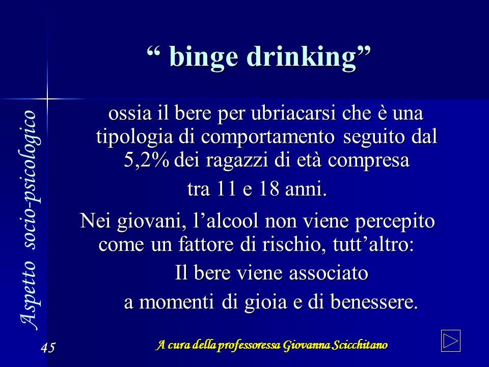 A cura della professoressa Giovanna Scicchitano 45 binge drinking binge drinking ossia il bere per ubriacarsi che è una tipologia di comportamento seg