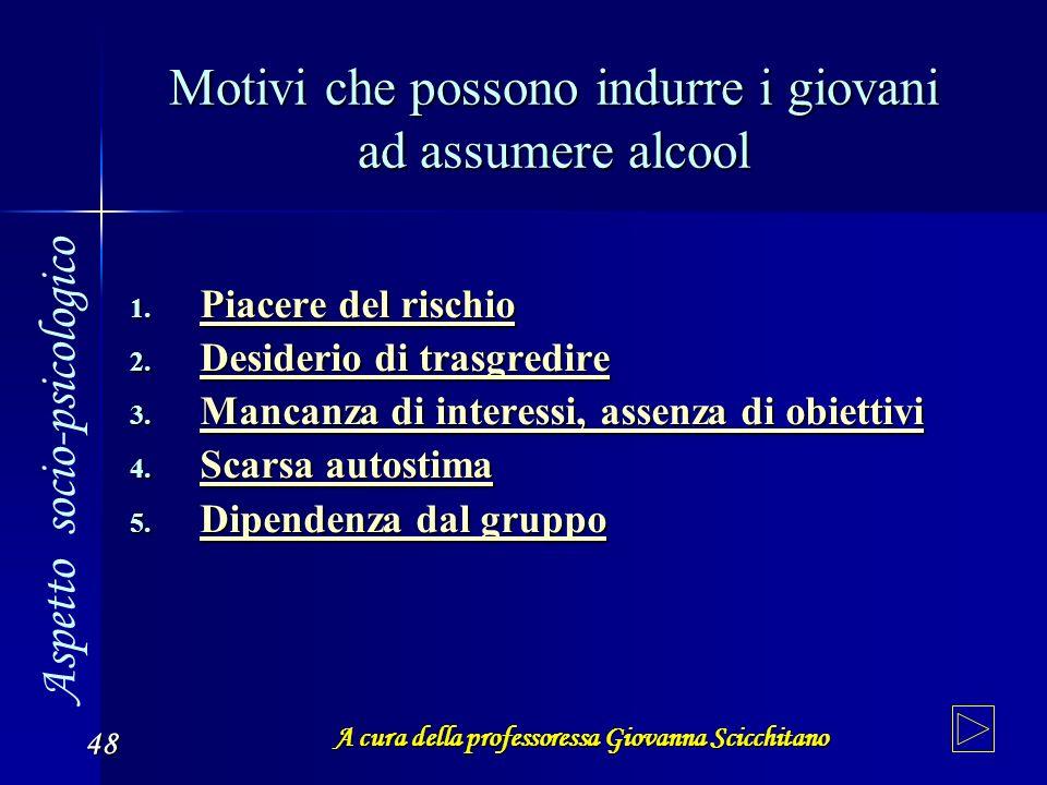 A cura della professoressa Giovanna Scicchitano 48 Motivi che possono indurre i giovani ad assumere alcool 1. Piacere 1. Piacere Piacere del rischio 2
