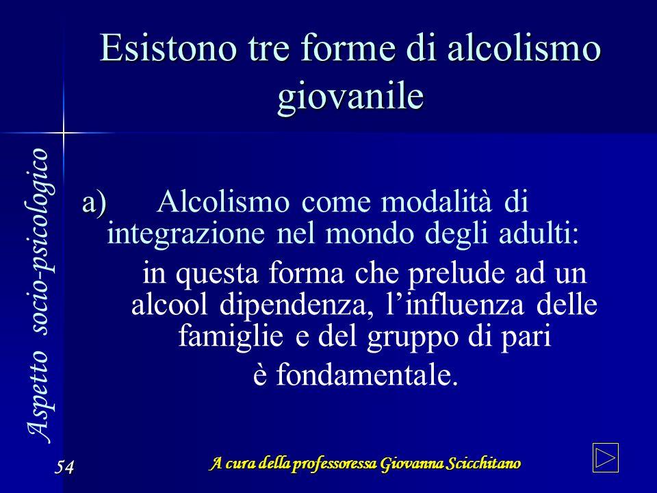 A cura della professoressa Giovanna Scicchitano 54 Esistono tre forme di alcolismo giovanile a) Alcolismo come modalità di integrazione nel mondo degl