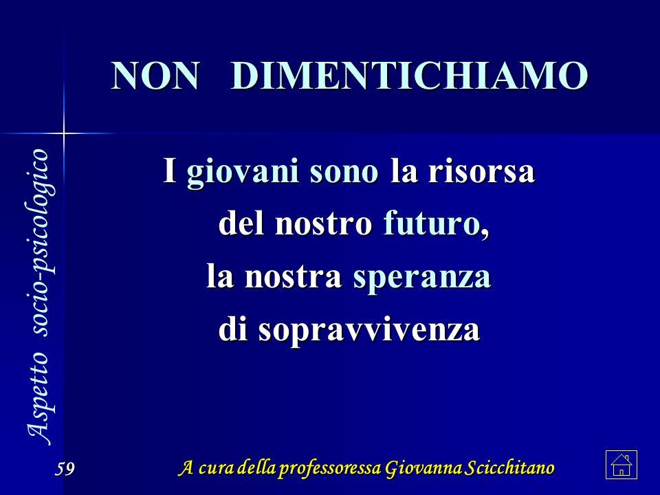 A cura della professoressa Giovanna Scicchitano 59 NON DIMENTICHIAMO I giovani sono la risorsa del nostro futuro, del nostro futuro, la nostra speranz