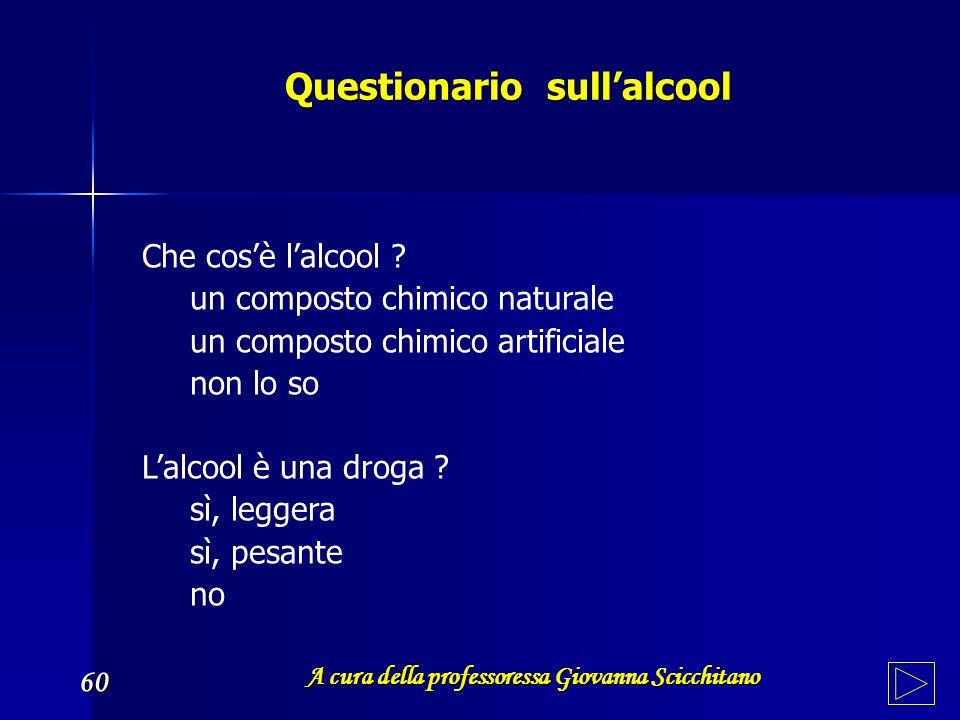 Questionario sullalcool Questionario sullalcool A cura della professoressa Giovanna Scicchitano 60 Che cosè lalcool ? un composto chimico naturale un