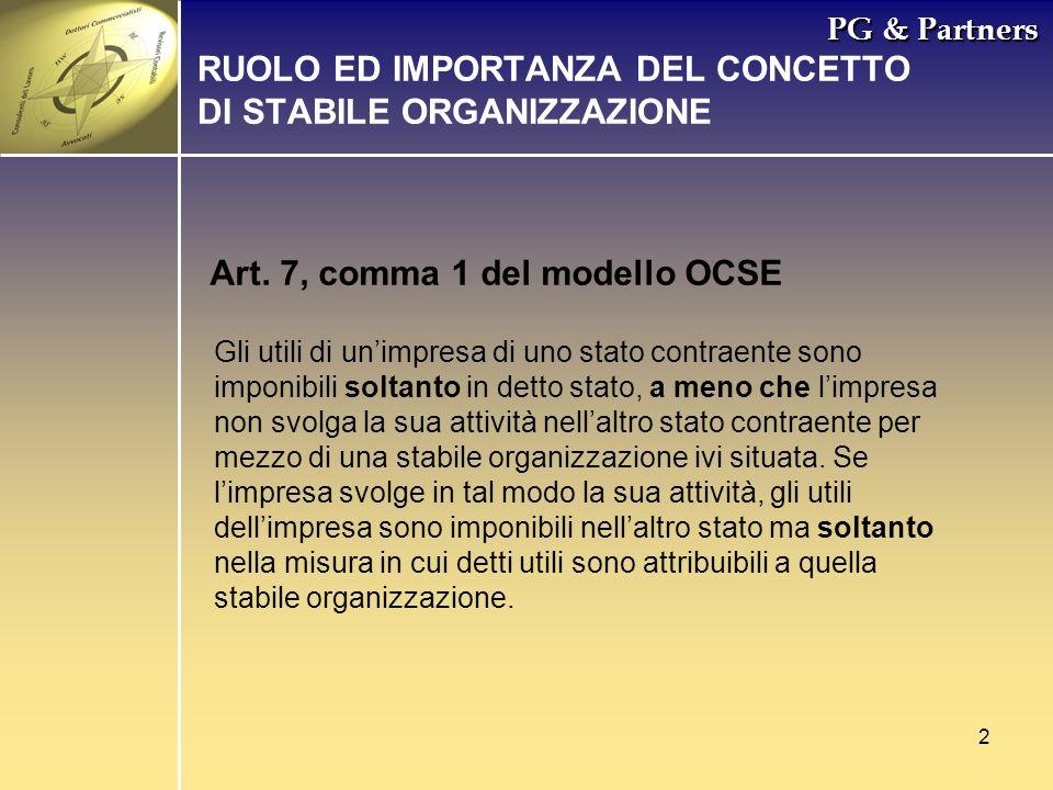 2 PG & Partners Art. 7, comma 1 del modello OCSE Gli utili di unimpresa di uno stato contraente sono imponibili soltanto in detto stato, a meno che li