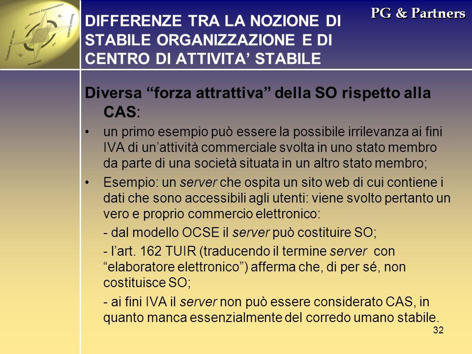 32 PG & Partners DIFFERENZE TRA LA NOZIONE DI STABILE ORGANIZZAZIONE E DI CENTRO DI ATTIVITA STABILE Diversa forza attrattiva della SO rispetto alla C