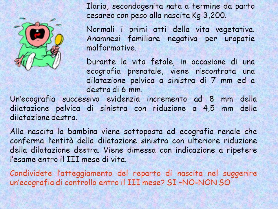 Ilaria, secondogenita nata a termine da parto cesareo con peso alla nascita Kg 3,200. Normali i primi atti della vita vegetativa. Anamnesi familiare n