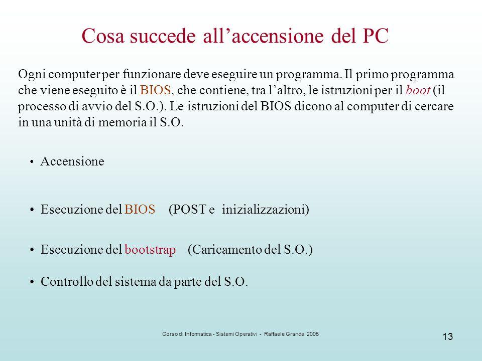 Corso di Informatica - Sistemi Operativi - Raffaele Grande 2005 13 Cosa succede allaccensione del PC Ogni computer per funzionare deve eseguire un pro