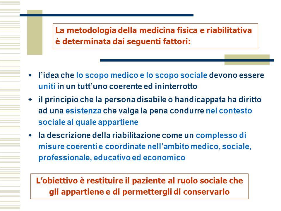 La metodologia della medicina fisica e riabilitativa è determinata dai seguenti fattori: Lobiettivo è restituire il paziente al ruolo sociale che gli