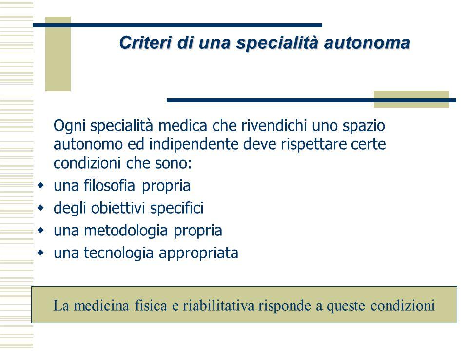 Criteri di una specialità autonoma La medicina fisica e riabilitativa risponde a queste condizioni Ogni specialità medica che rivendichi uno spazio au