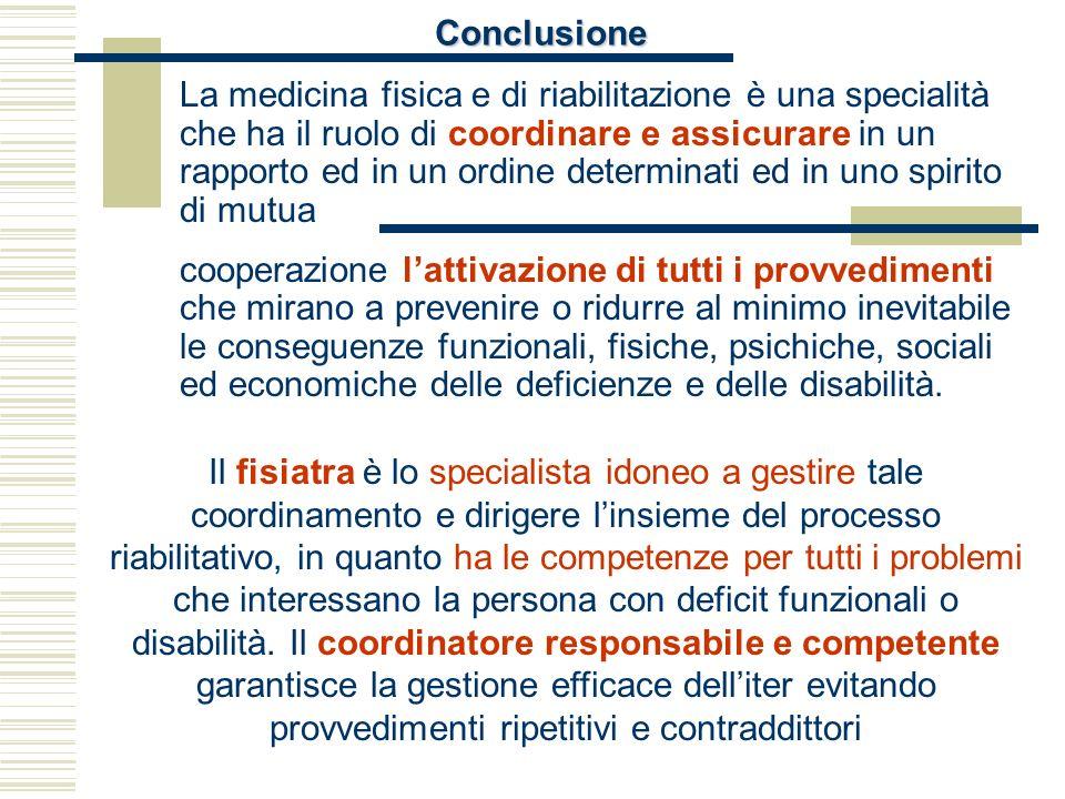 Conclusione La medicina fisica e di riabilitazione è una specialità che ha il ruolo di coordinare e assicurare in un rapporto ed in un ordine determin