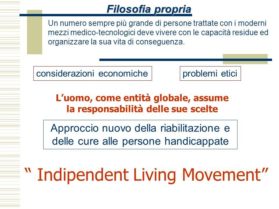 Filosofia propria Indipendent Living Movement Un numero sempre più grande di persone trattate con i moderni mezzi medico-tecnologici deve vivere con l