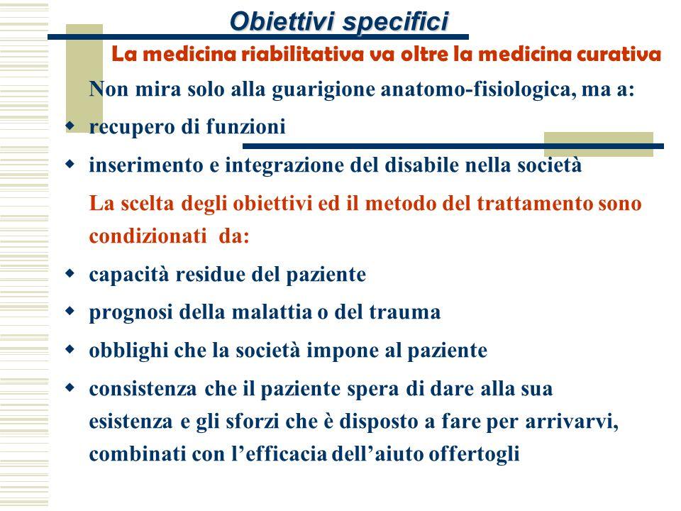 Obiettivi specifici La medicina riabilitativa va oltre la medicina curativa Non mira solo alla guarigione anatomo-fisiologica, ma a: recupero di funzi