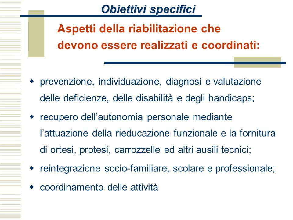 Obiettivi specifici Aspetti della riabilitazione che devono essere realizzati e coordinati: prevenzione, individuazione, diagnosi e valutazione delle