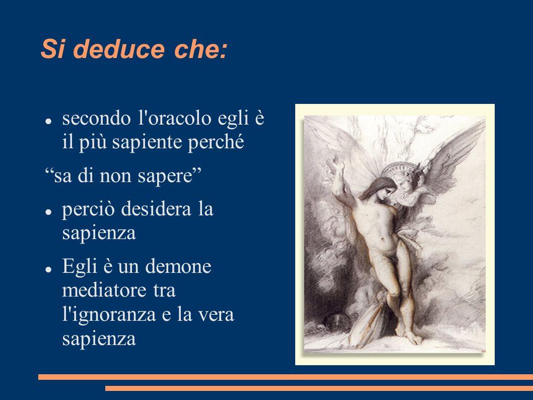 Si deduce che: secondo l'oracolo egli è il più sapiente perché sa di non sapere perciò desidera la sapienza Egli è un demone mediatore tra l'ignoranza