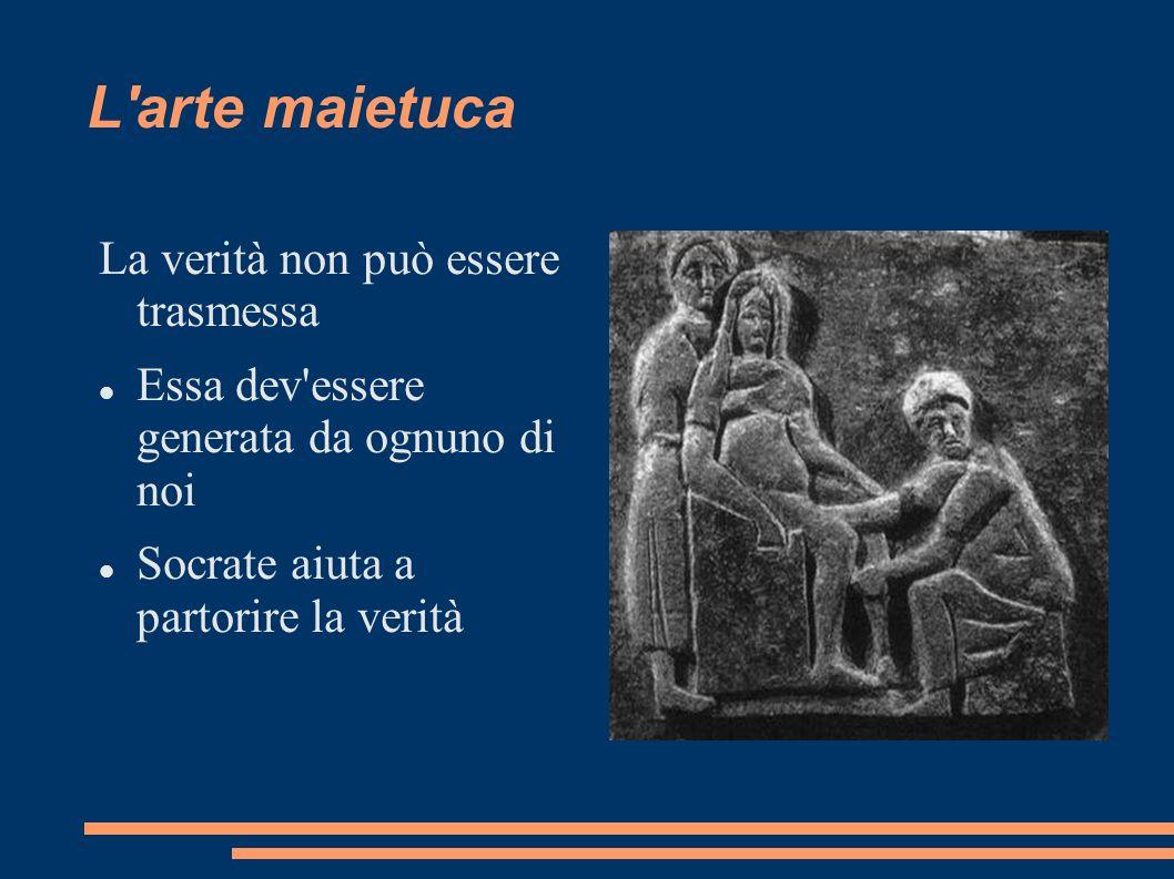 L'arte maietuca La verità non può essere trasmessa Essa dev'essere generata da ognuno di noi Socrate aiuta a partorire la verità