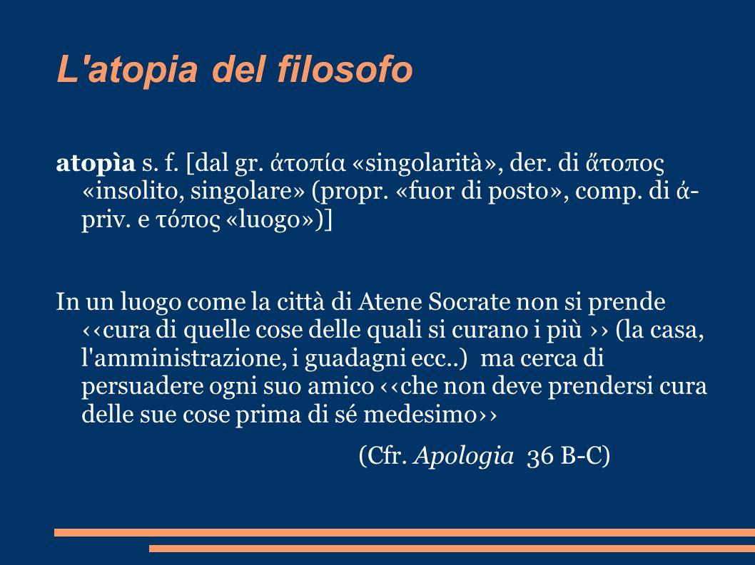 L'atopia del filosofo atopìa s. f. [dal gr. τοπ α «singolarità», der. di τοπος «insolito, singolare» (propr. «fuor di posto», comp. di - priv. e τ πος