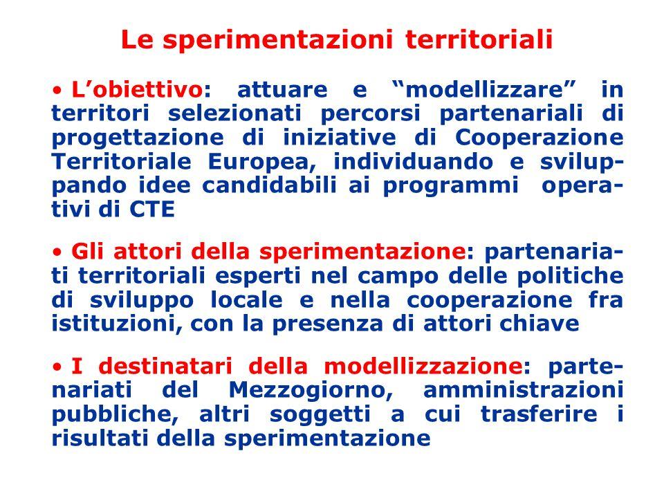 Le sperimentazioni territoriali Lobiettivo: attuare e modellizzare in territori selezionati percorsi partenariali di progettazione di iniziative di Co