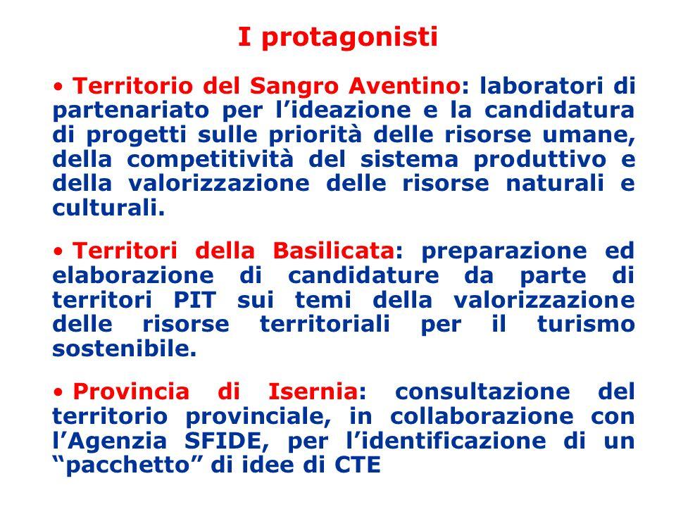 I protagonisti Territorio del Sangro Aventino: laboratori di partenariato per lideazione e la candidatura di progetti sulle priorità delle risorse umane, della competitività del sistema produttivo e della valorizzazione delle risorse naturali e culturali.