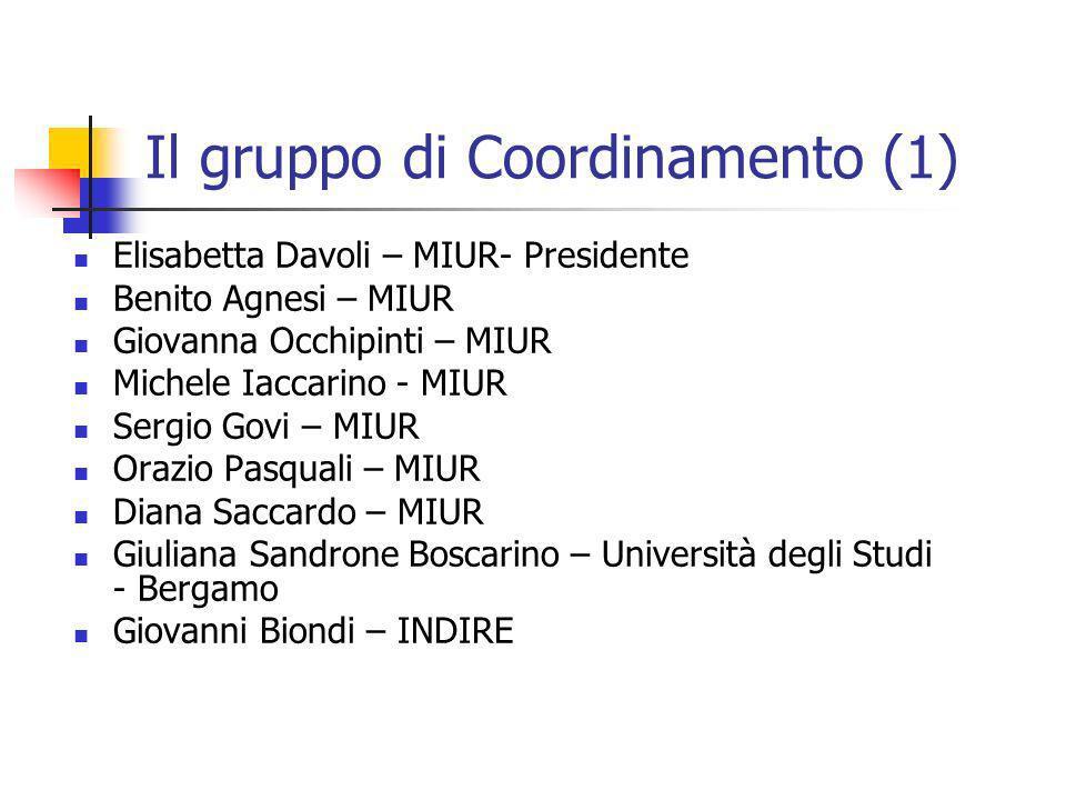 Il gruppo di Coordinamento (1) Elisabetta Davoli – MIUR- Presidente Benito Agnesi – MIUR Giovanna Occhipinti – MIUR Michele Iaccarino - MIUR Sergio Go
