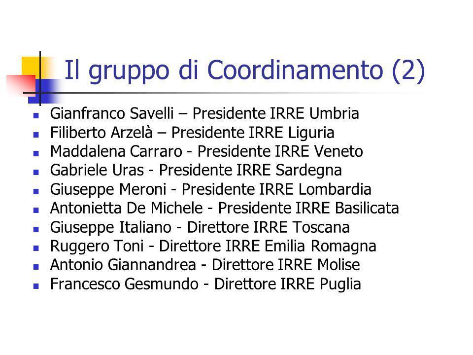 Il gruppo di Coordinamento (2) Gianfranco Savelli – Presidente IRRE Umbria Filiberto Arzelà – Presidente IRRE Liguria Maddalena Carraro - Presidente I