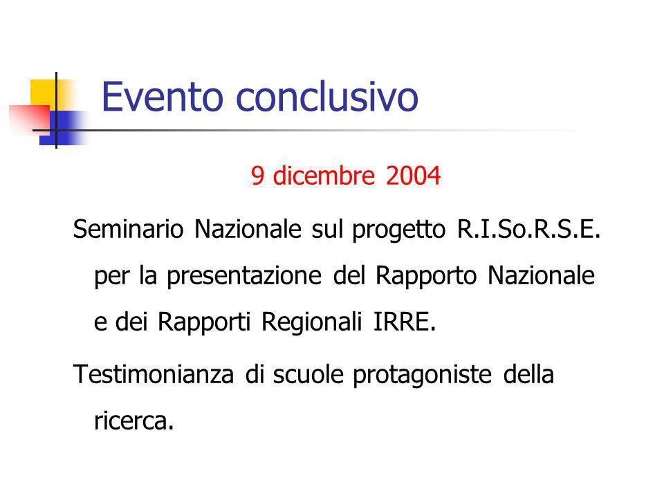 Evento conclusivo 9 dicembre 2004 Seminario Nazionale sul progetto R.I.So.R.S.E. per la presentazione del Rapporto Nazionale e dei Rapporti Regionali