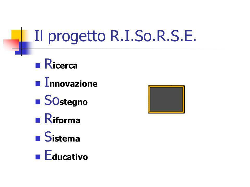 Il progetto R.I.So.R.S.E. R icerca I nnovazione So stegno R iforma S istema E ducativo