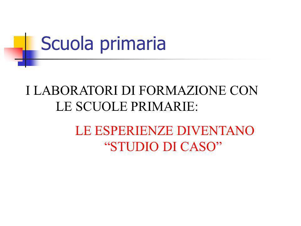Scuola primaria I LABORATORI DI FORMAZIONE CON LE SCUOLE PRIMARIE: LE ESPERIENZE DIVENTANO STUDIO DI CASO