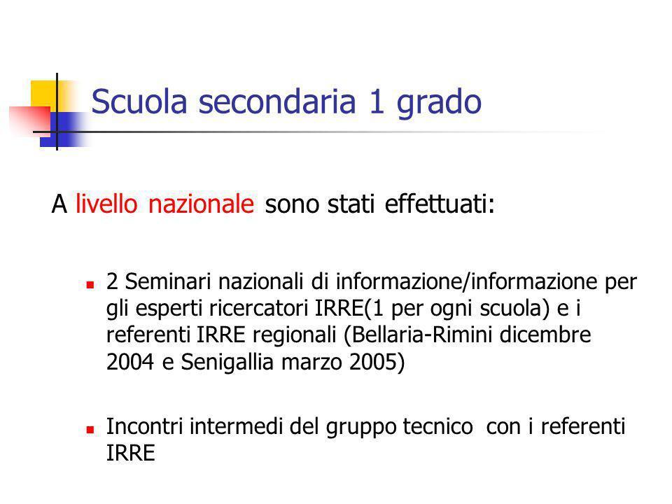 Scuola secondaria 1 grado A livello nazionale sono stati effettuati: 2 Seminari nazionali di informazione/informazione per gli esperti ricercatori IRR