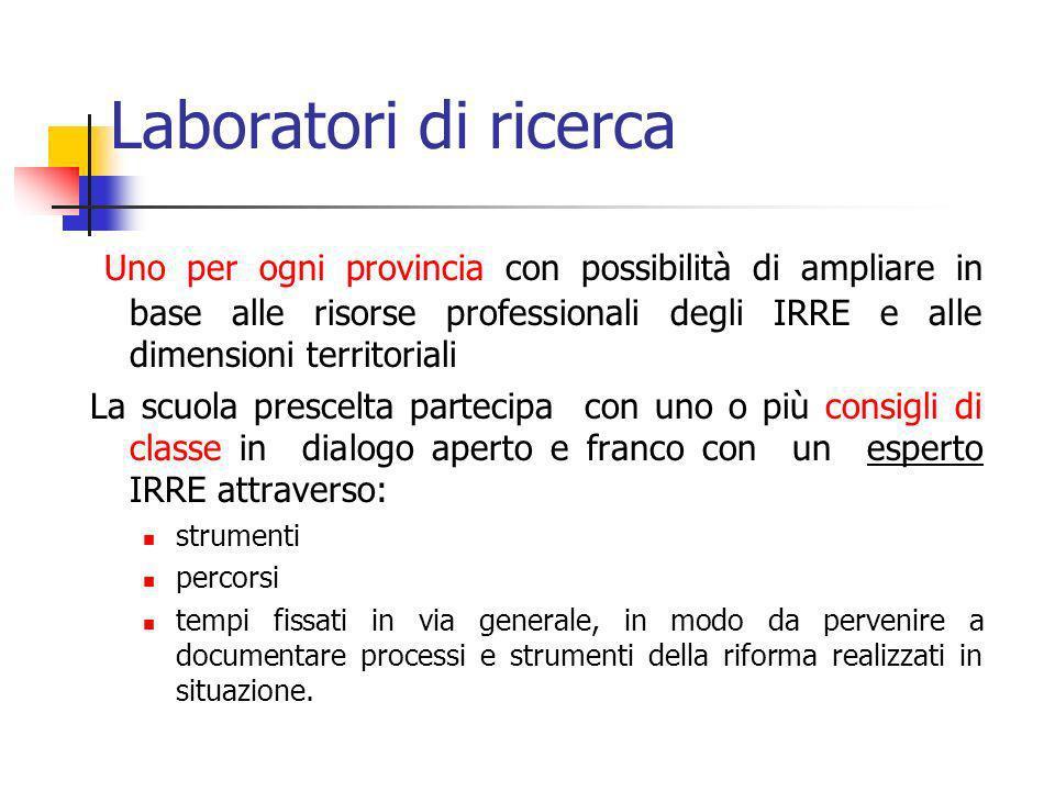 Laboratori di ricerca Uno per ogni provincia con possibilità di ampliare in base alle risorse professionali degli IRRE e alle dimensioni territoriali