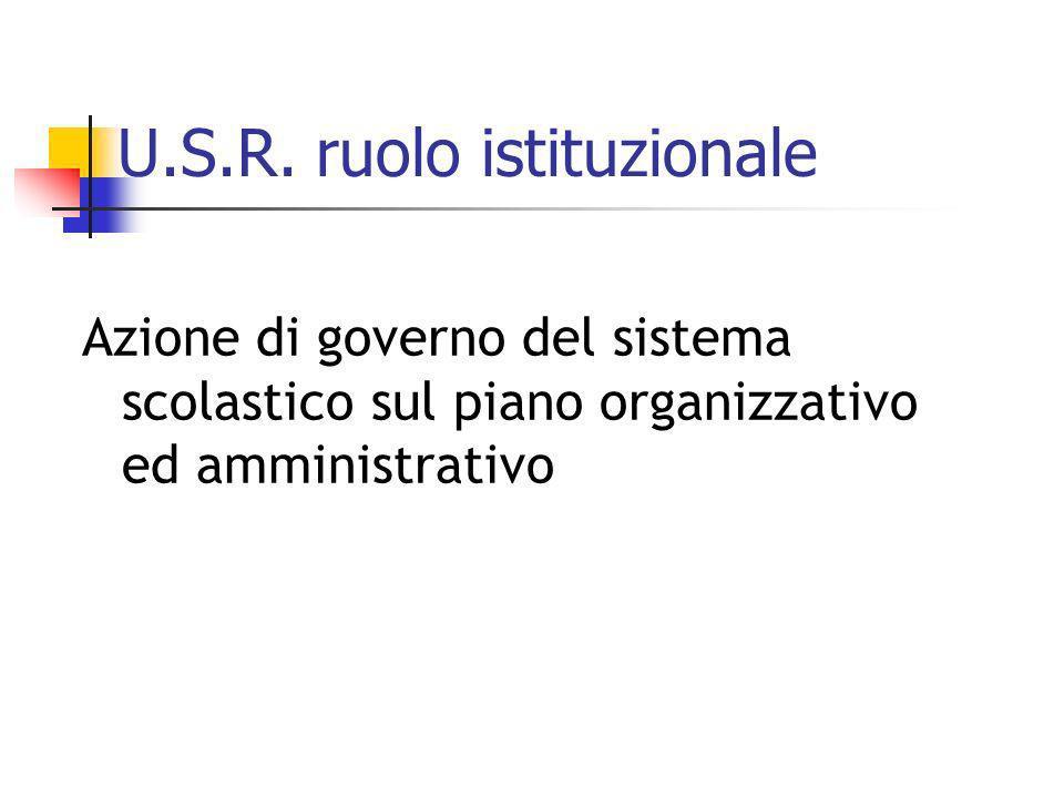 U.S.R. ruolo istituzionale Azione di governo del sistema scolastico sul piano organizzativo ed amministrativo