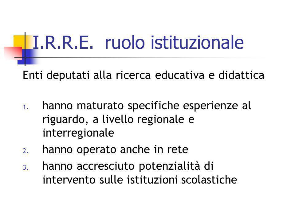 I.R.R.E. ruolo istituzionale Enti deputati alla ricerca educativa e didattica 1. hanno maturato specifiche esperienze al riguardo, a livello regionale