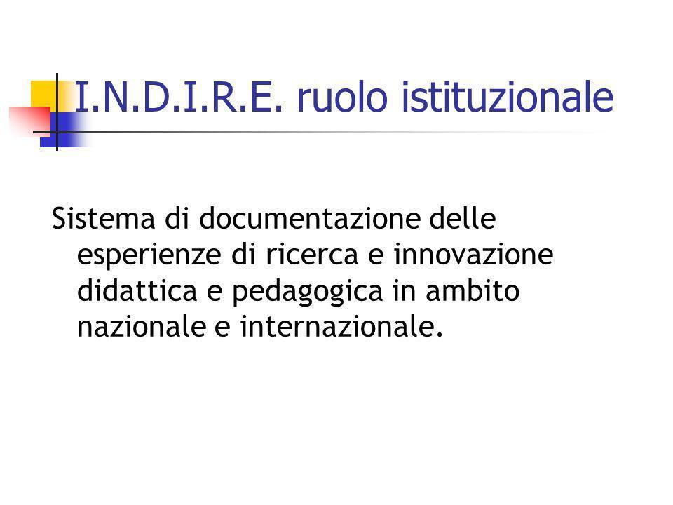 I.N.D.I.R.E. ruolo istituzionale Sistema di documentazione delle esperienze di ricerca e innovazione didattica e pedagogica in ambito nazionale e inte