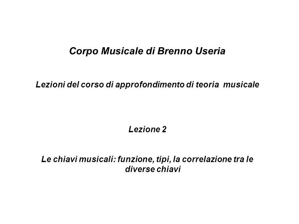 Corpo Musicale di Brenno Useria Lezioni del corso di approfondimento di teoria musicale Lezione 2 Le chiavi musicali: funzione, tipi, la correlazione