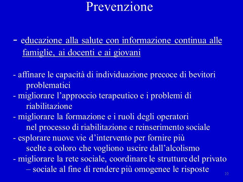 Prevenzione - educazione alla salute con informazione continua alle famiglie, ai docenti e ai giovani - affinare le capacità di individuazione precoce