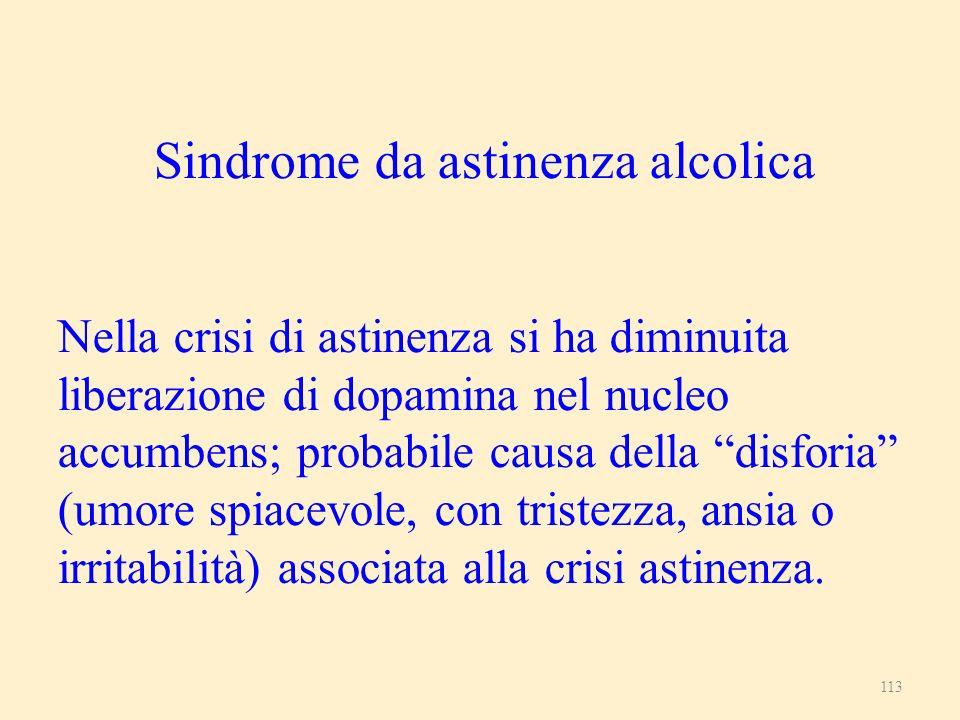 Sindrome da astinenza alcolica Nella crisi di astinenza si ha diminuita liberazione di dopamina nel nucleo accumbens; probabile causa della disforia (